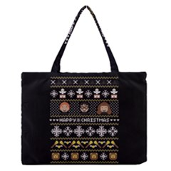 Merry Nerdmas! Ugly Christma Black Background Medium Zipper Tote Bag