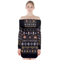 Merry Nerdmas! Ugly Christma Black Background Long Sleeve Off Shoulder Dress