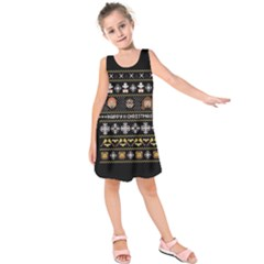 Merry Nerdmas! Ugly Christma Black Background Kids  Sleeveless Dress
