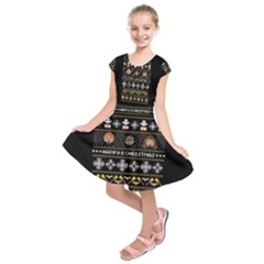 Merry Nerdmas! Ugly Christma Black Background Kids  Short Sleeve Dress