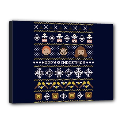 Merry Nerdmas! Ugly Christmas Blue Background Canvas 16  x 12