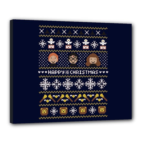 Merry Nerdmas! Ugly Christmas Blue Background Canvas 20  x 16
