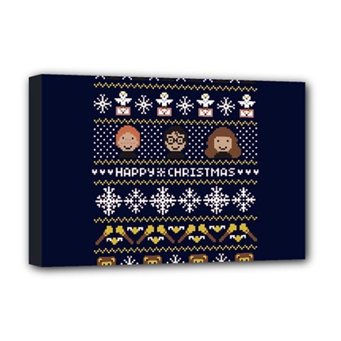 Merry Nerdmas! Ugly Christmas Blue Background Deluxe Canvas 18  X 12