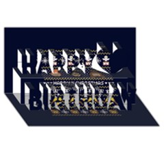 Merry Nerdmas! Ugly Christmas Blue Background Happy Birthday 3d Greeting Card (8x4)