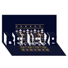 Merry Nerdmas! Ugly Christmas Blue Background BELIEVE 3D Greeting Card (8x4)