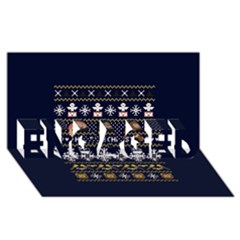 Merry Nerdmas! Ugly Christmas Blue Background Engaged 3d Greeting Card (8x4)