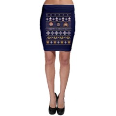 Merry Nerdmas! Ugly Christmas Blue Background Bodycon Skirt