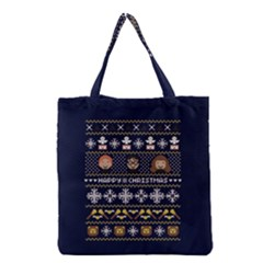 Merry Nerdmas! Ugly Christmas Blue Background Grocery Tote Bag