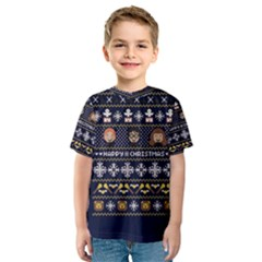 Merry Nerdmas! Ugly Christmas Blue Background Kids  Sport Mesh Tee