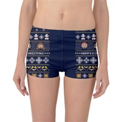 Merry Nerdmas! Ugly Christmas Blue Background Boyleg Bikini Bottoms