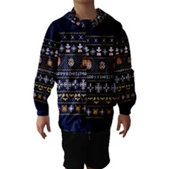 Merry Nerdmas! Ugly Christmas Blue Background Hooded Wind Breaker (Kids)