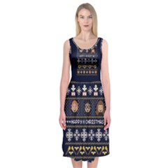 Merry Nerdmas! Ugly Christmas Blue Background Midi Sleeveless Dress
