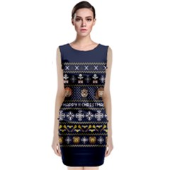 Merry Nerdmas! Ugly Christmas Blue Background Classic Sleeveless Midi Dress