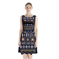 Merry Nerdmas! Ugly Christmas Blue Background Sleeveless Chiffon Waist Tie Dress
