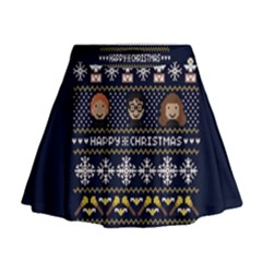 Merry Nerdmas! Ugly Christmas Blue Background Mini Flare Skirt