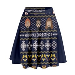 Merry Nerdmas! Ugly Christmas Blue Background High Waist Skirt