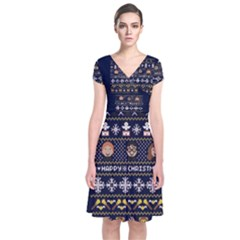 Merry Nerdmas! Ugly Christmas Blue Background Short Sleeve Front Wrap Dress