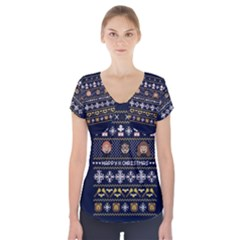 Merry Nerdmas! Ugly Christmas Blue Background Short Sleeve Front Detail Top