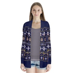 Merry Nerdmas! Ugly Christmas Blue Background Drape Collar Cardigan