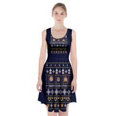 Merry Nerdmas! Ugly Christmas Blue Background Racerback Midi Dress