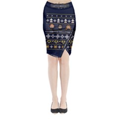 Merry Nerdmas! Ugly Christmas Blue Background Midi Wrap Pencil Skirt