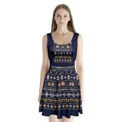 Merry Nerdmas! Ugly Christmas Blue Background Split Back Mini Dress