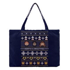 Merry Nerdmas! Ugly Christmas Blue Background Medium Tote Bag