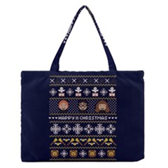 Merry Nerdmas! Ugly Christmas Blue Background Medium Zipper Tote Bag