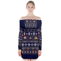 Merry Nerdmas! Ugly Christmas Blue Background Long Sleeve Off Shoulder Dress
