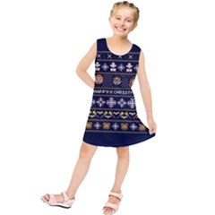 Merry Nerdmas! Ugly Christmas Blue Background Kids  Tunic Dress