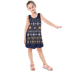Merry Nerdmas! Ugly Christmas Blue Background Kids  Sleeveless Dress