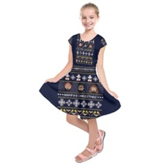 Merry Nerdmas! Ugly Christmas Blue Background Kids  Short Sleeve Dress