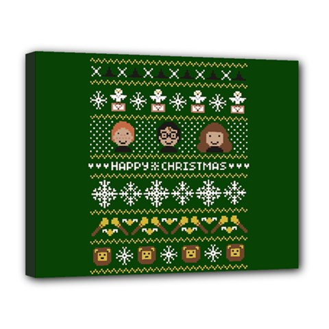 Merry Nerdmas! Ugly Christma Green Background Canvas 14  x 11