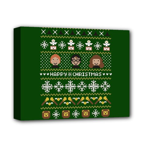Merry Nerdmas! Ugly Christma Green Background Deluxe Canvas 14  X 11