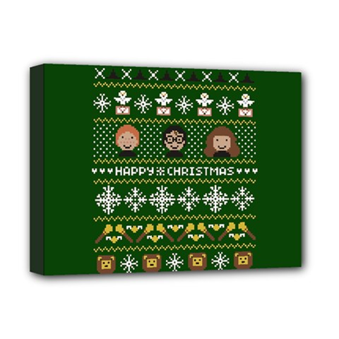 Merry Nerdmas! Ugly Christma Green Background Deluxe Canvas 16  x 12