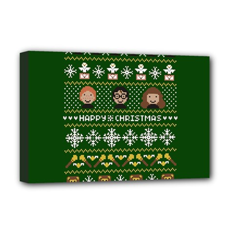 Merry Nerdmas! Ugly Christma Green Background Deluxe Canvas 18  x 12