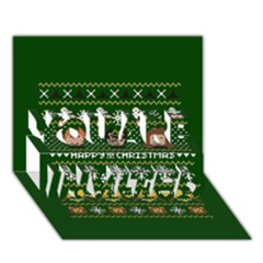 Merry Nerdmas! Ugly Christma Green Background You Are Invited 3d Greeting Card (7x5)