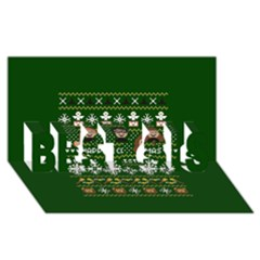 Merry Nerdmas! Ugly Christma Green Background Best Sis 3d Greeting Card (8x4)