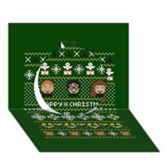 Merry Nerdmas! Ugly Christma Green Background Circle 3d Greeting Card (7x5)