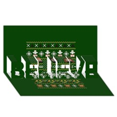 Merry Nerdmas! Ugly Christma Green Background BELIEVE 3D Greeting Card (8x4)
