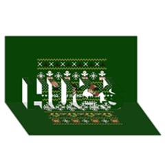 Merry Nerdmas! Ugly Christma Green Background Hugs 3d Greeting Card (8x4)