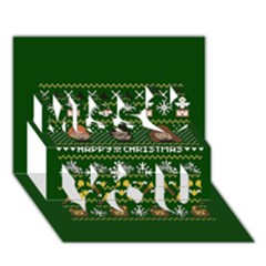 Merry Nerdmas! Ugly Christma Green Background Miss You 3D Greeting Card (7x5)
