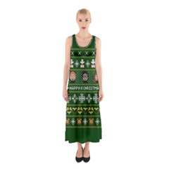 Merry Nerdmas! Ugly Christma Green Background Sleeveless Maxi Dress