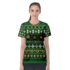 Merry Nerdmas! Ugly Christma Green Background Women s Sport Mesh Tee