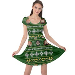 Merry Nerdmas! Ugly Christma Green Background Cap Sleeve Dresses