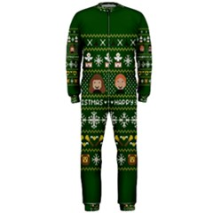 Merry Nerdmas! Ugly Christma Green Background OnePiece Jumpsuit (Men)
