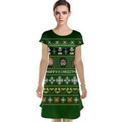 Merry Nerdmas! Ugly Christma Green Background Cap Sleeve Nightdress