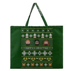 Merry Nerdmas! Ugly Christma Green Background Zipper Large Tote Bag