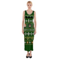 Merry Nerdmas! Ugly Christma Green Background Fitted Maxi Dress