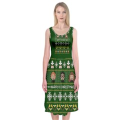 Merry Nerdmas! Ugly Christma Green Background Midi Sleeveless Dress
